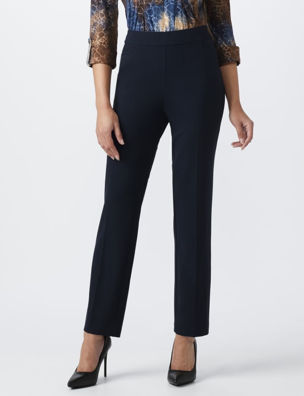 Roz & Ali Secret Agent  Pull on Tummy Control Pants with L Pockets - Average -Navy - Front