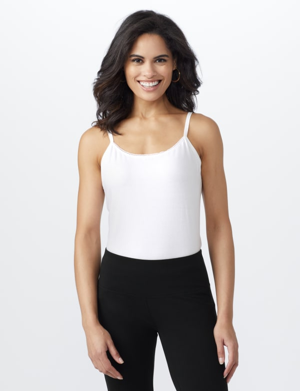 Picot Trim Cotton Spandex Cami -white - Front