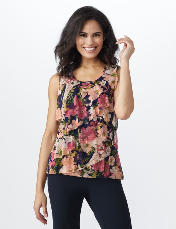 Mesh Tiered Floral Knit Top -Navy - Front