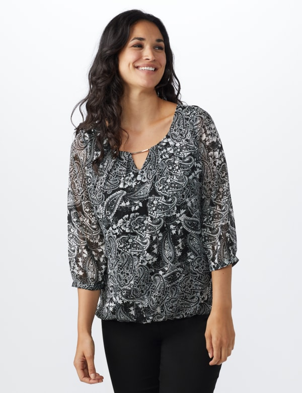 Roz & Ali Paisley Metallic Bubble Hem Blouse - Misses - Ivory/Black - Front