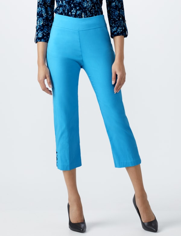 Superstretch Pull On Capri Pant With Criss Cross Rivet Hem Detail - Azure Blue - Front
