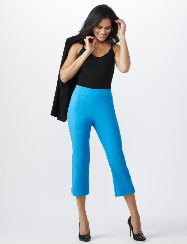 Superstretch Pull On Capri Pant With Tabs And Grommet Trim Hem Detail