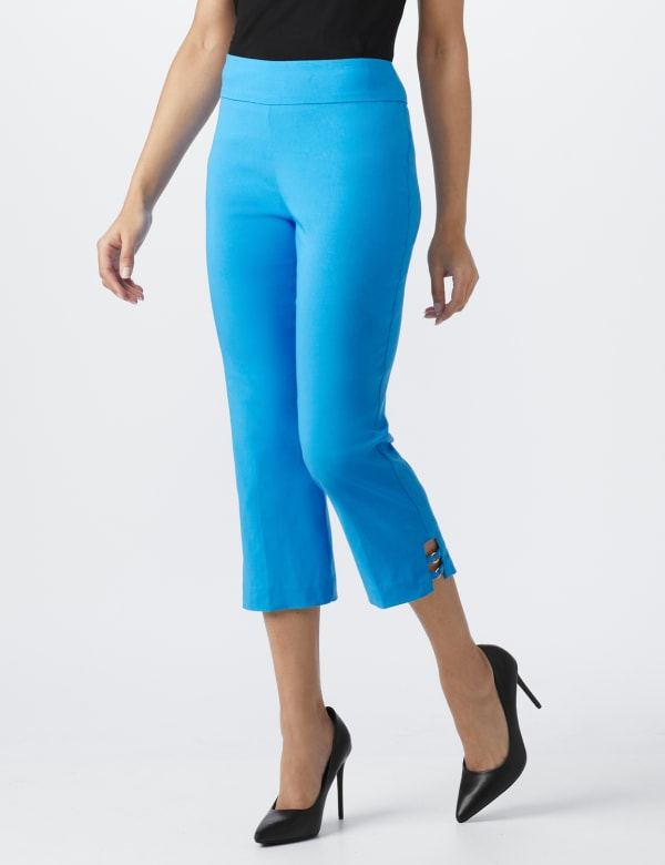 Superstretch Pull On Capri Pant With Tabs And Grommet Trim Hem Detail -Bluebird - Front