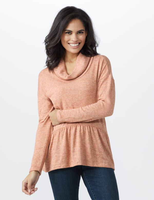 Cowl Neck Knit Top - Brick - Front