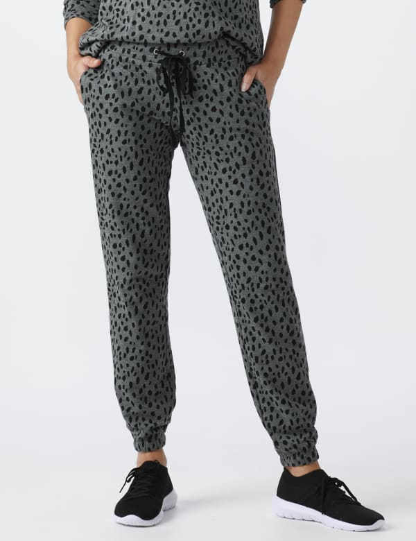 DB Sunday Animal French Terry Knit Jogger - Grey/Black - Front