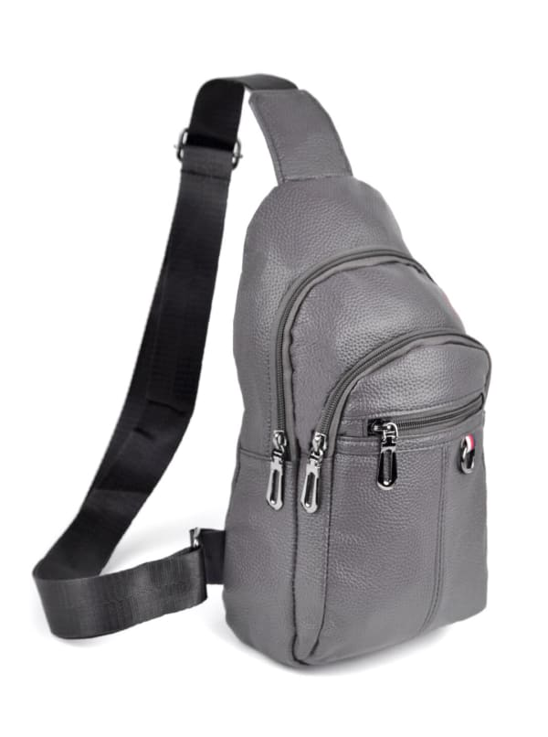 Synthetic Leather Crossbody Sling Shoulder Bag - Gray - Front