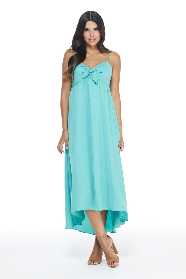 Knot Tie Midi Dress - Teal - Front