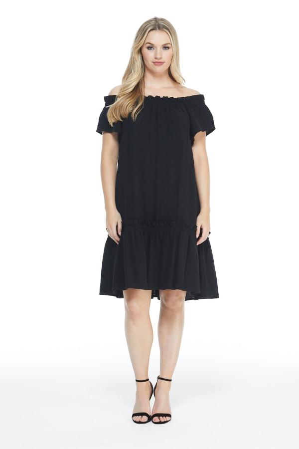 Ruffle Hem Dress - black - Front