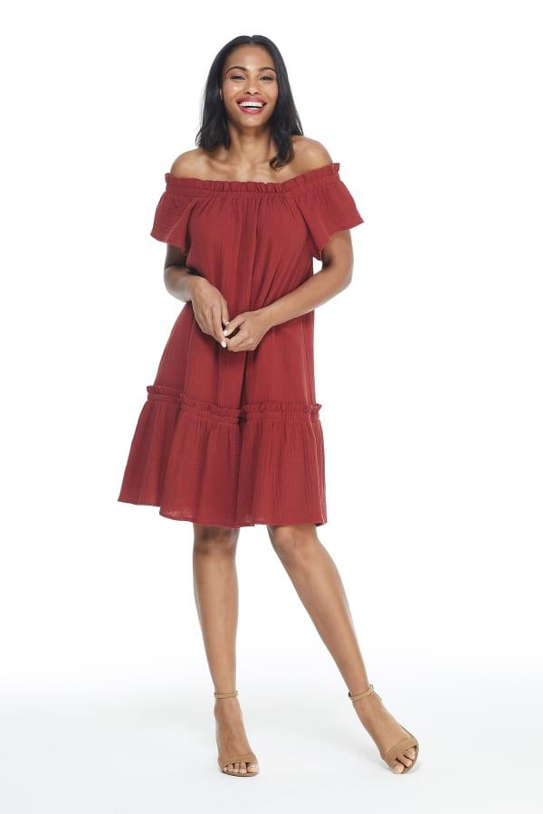 Ruffle Hem Dress - rust - Front