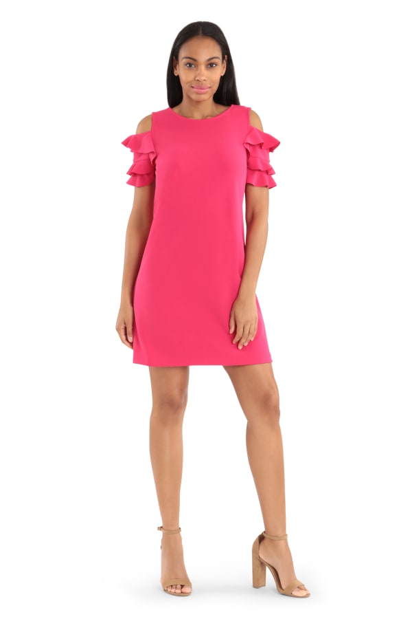 Cold Shoulder Sheath Dress -Dahlia - Front
