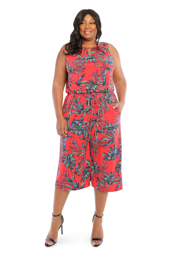 Palm Cropped Jumpsuit-Plus - Red/multi - Front