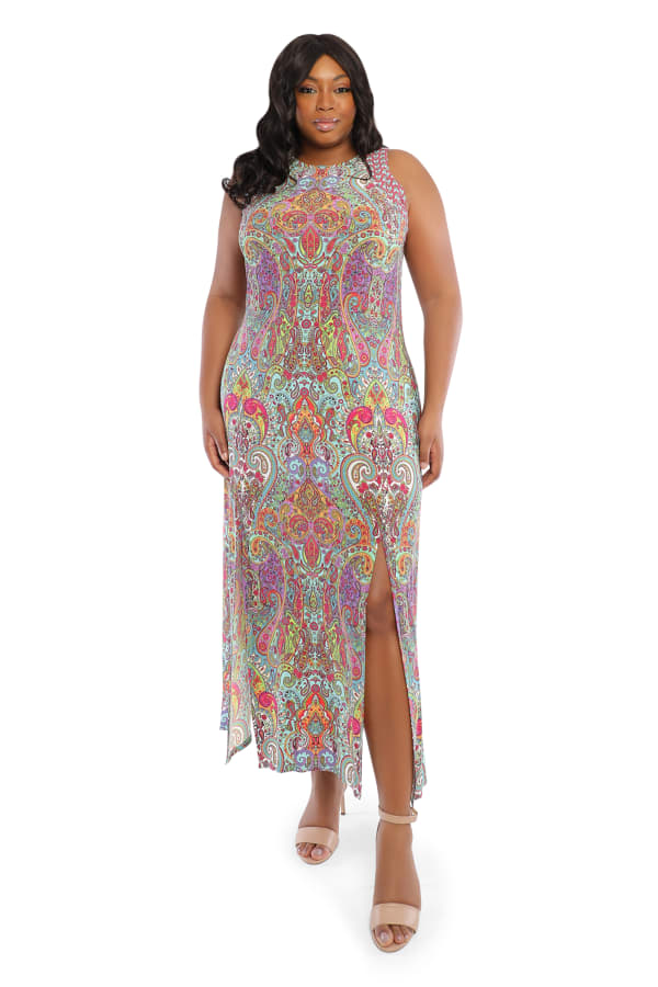 Scroll Maxi Slit Dress -Multi - Front