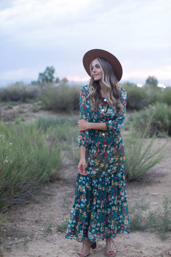 Moroccan Floral Veronica Dress - Moroccan teal - Front