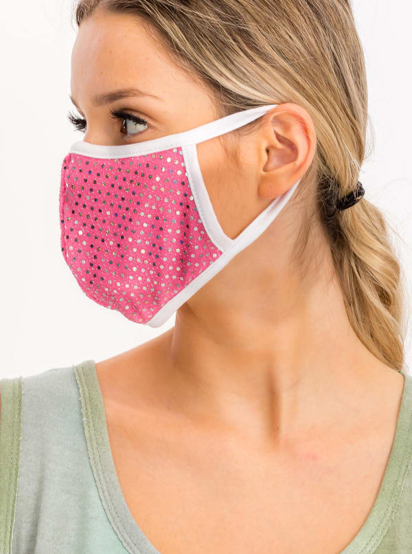 Glitter Printed Fashion Face Mask - Pink - Front