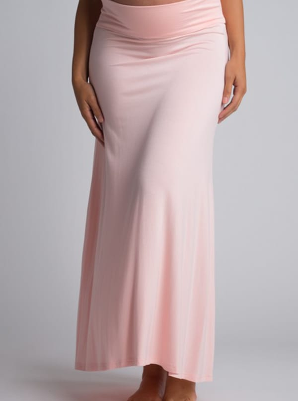 Ultra-Soft Maternity Fold-Over Skirt - Blush - Front