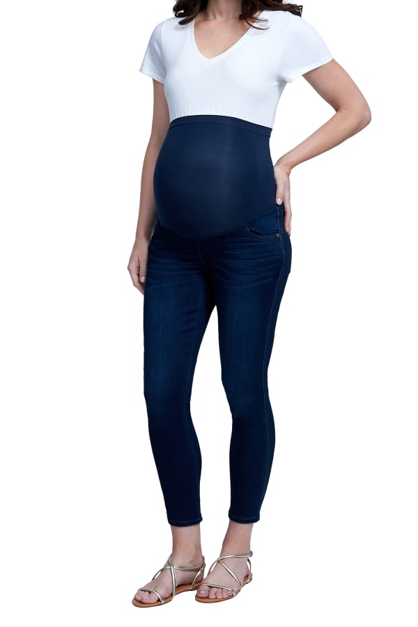 Maternity Seven 7 Slimmaker Ankle Skinny Jeans with Belly Band - Misses - Clifton - Front