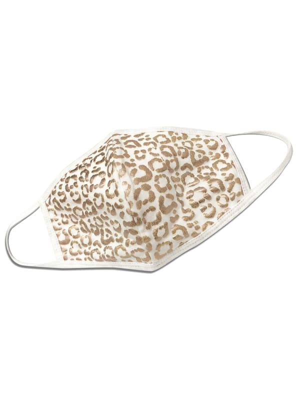 Animal Print Foil Mask - Ivory/Gold - Front