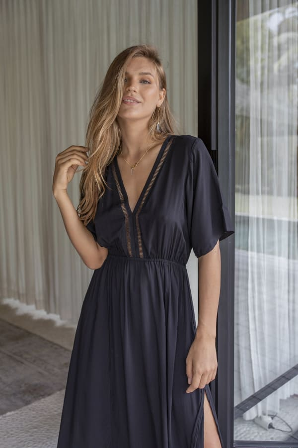 Savannah Dress - Plus - Black - Front