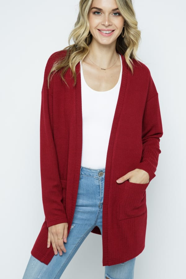 Waffle Knit Snuggle Cardigan with Pockets - Cranberry - Front