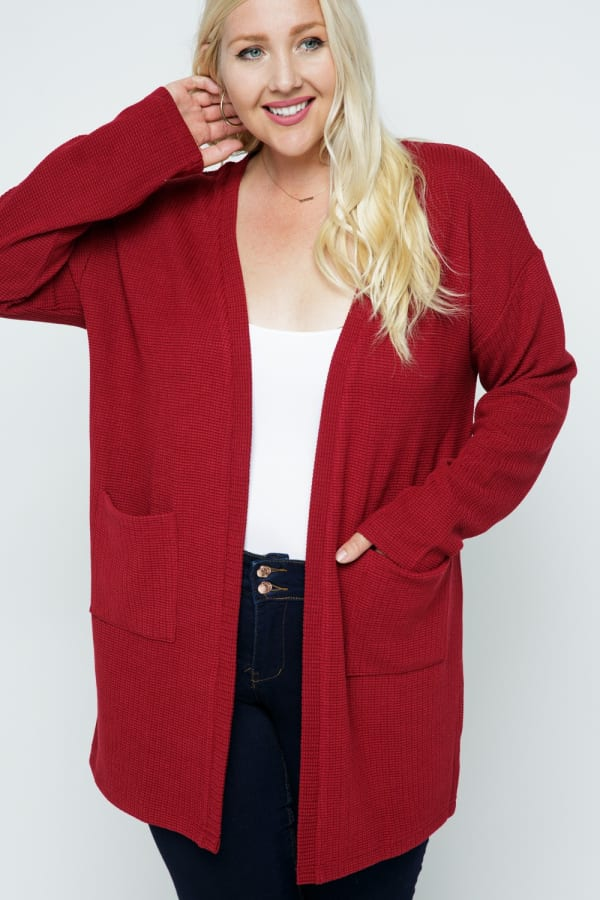 Waffle Knit Snuggle Cardigan with Pockets - Plus - Cranberry - Front