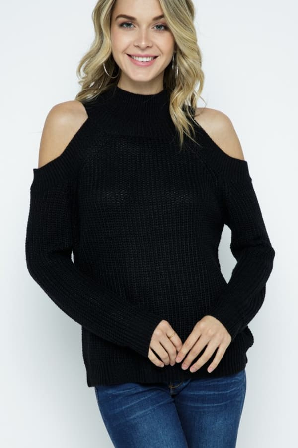 Cold Shoulder Knit Mock Neck Pullover - Black - Front