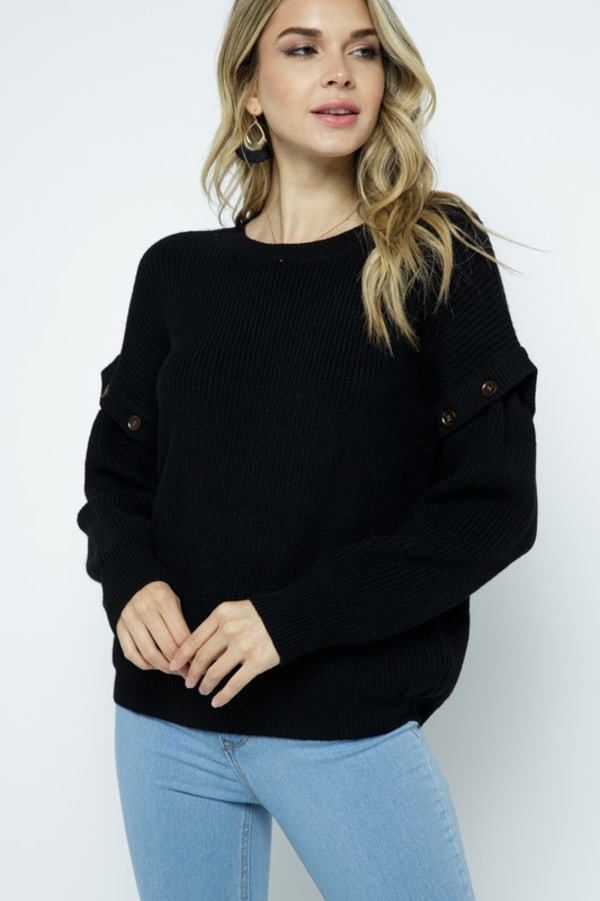 Knit Ribbed Pullover with Button Detachable Sleeves - Black - Front