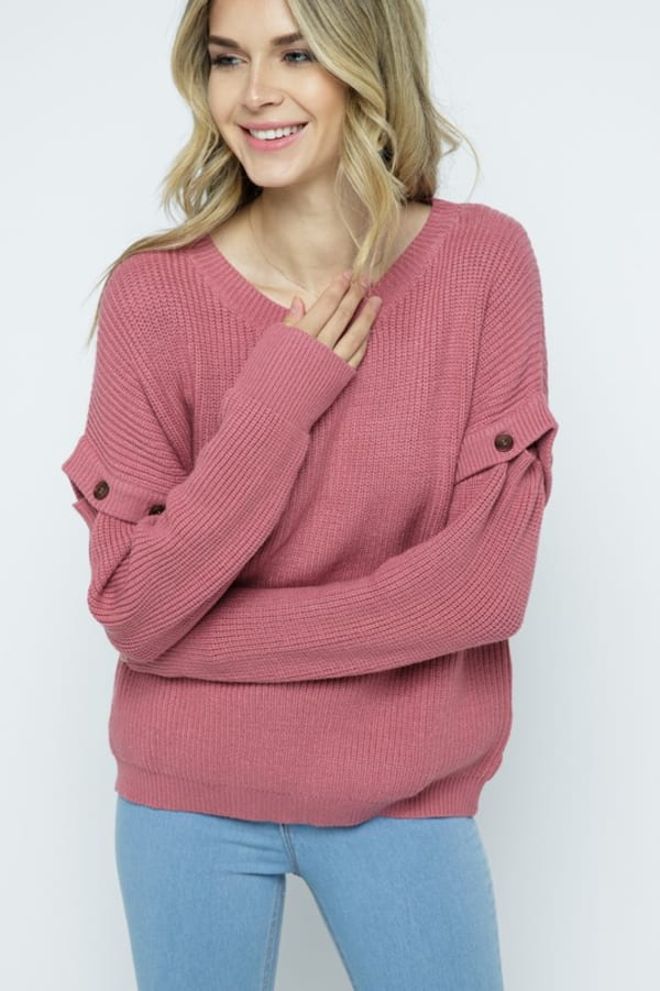 Knit Ribbed Pullover with Button Detachable Sleeves - Dusty Pink - Front