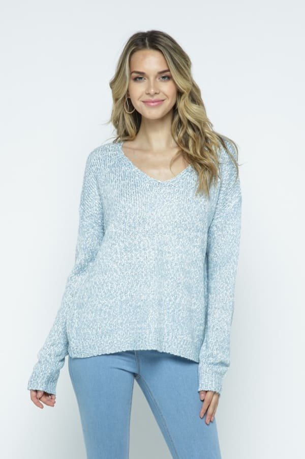 Soft Yarn Two Tone V-Neck Pullover - Light Blue - Front