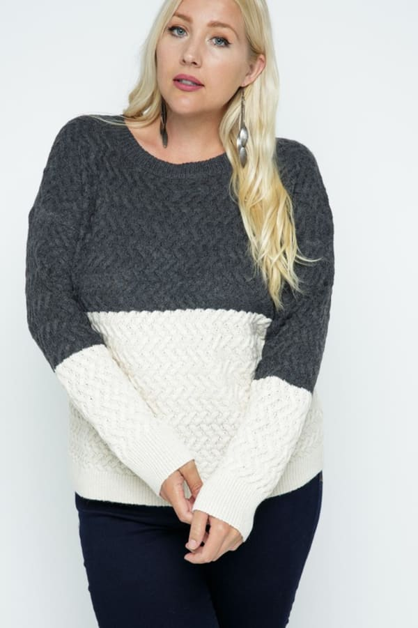 Color Block Cable Knit Pullover - Plus - Charcoal - Front
