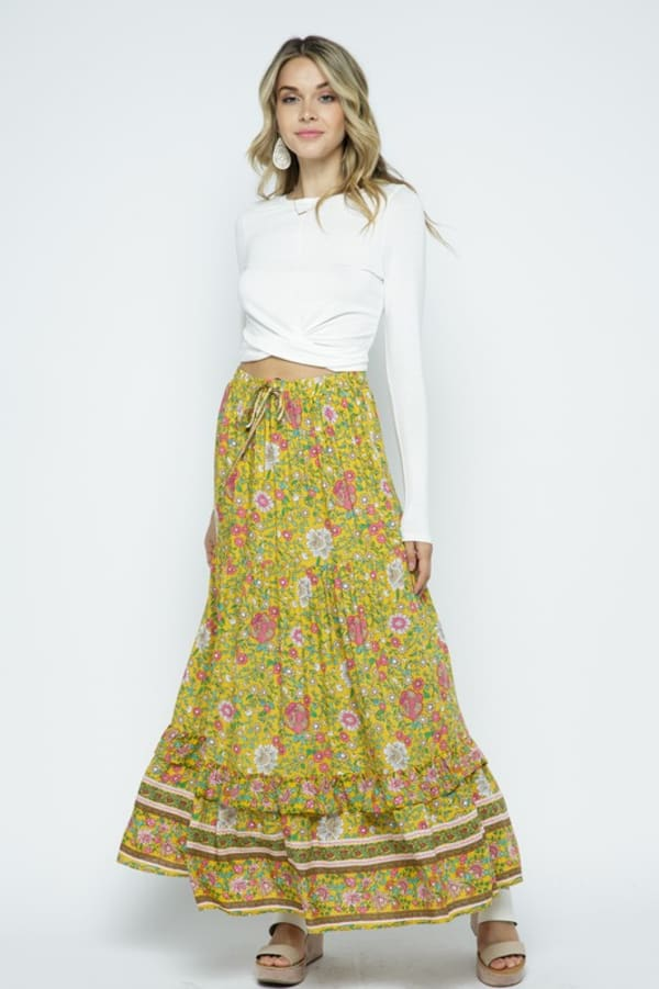 Boho Floral Maxi Skirt with Ruffle