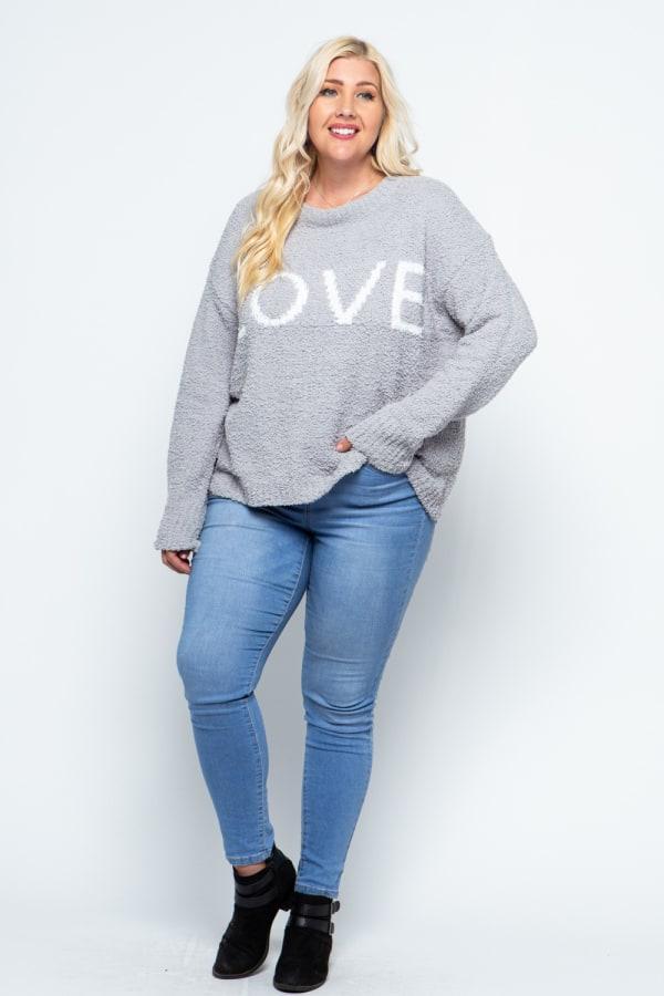 Plush Yarn LOVE Sweater - Plus - Grey - Front