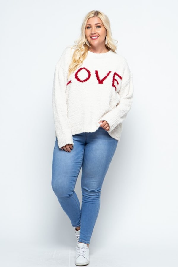 Plush Yarn LOVE Sweater - Plus - Off White - Front