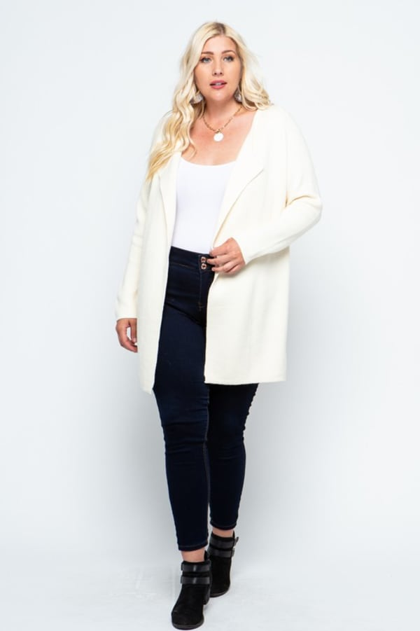 Fine Knit Open Front Draped Cardigan - Plus - Cream - Front