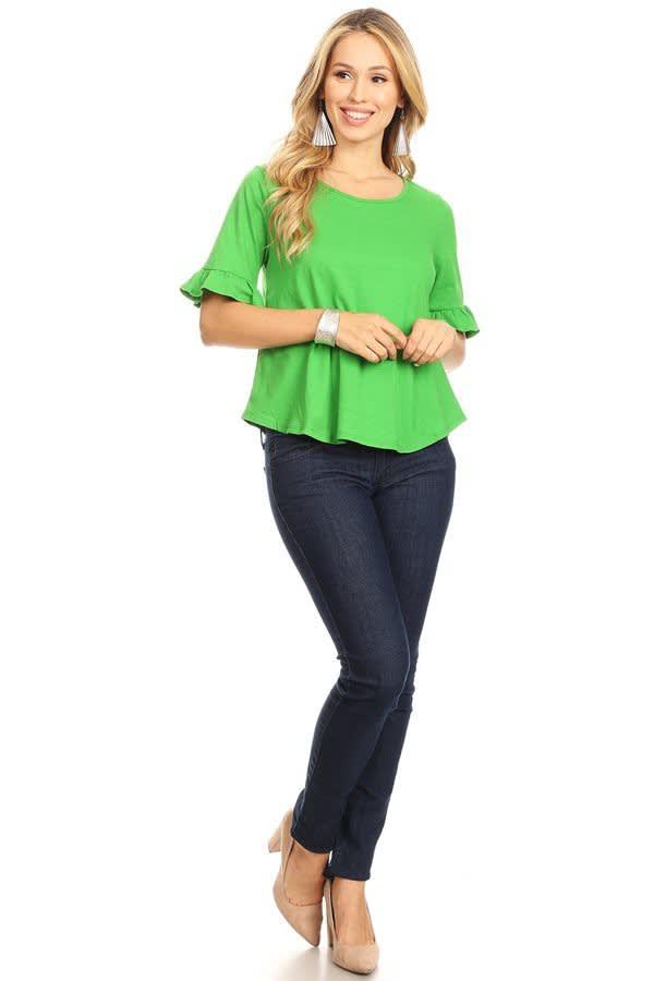 Bright Green Ruffle Top