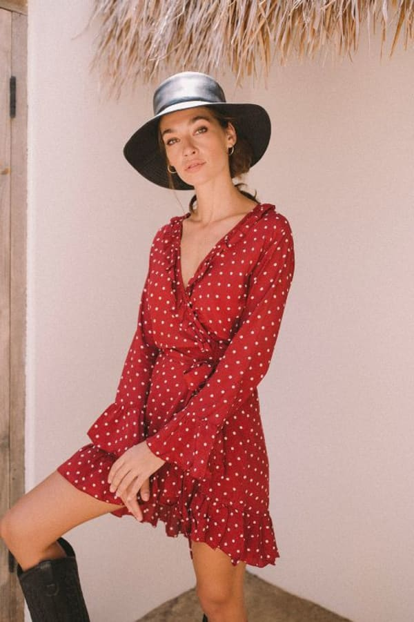 Cranberry Polka Wrap Dress - Cranberry - Front