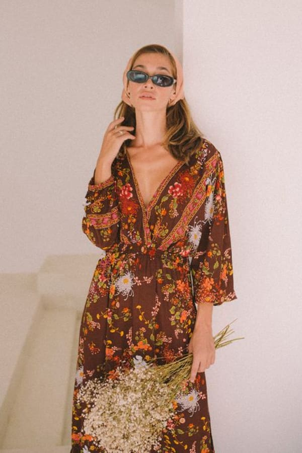 Long Sleeve Autumn Peasant Dress - Brown Floral - Front