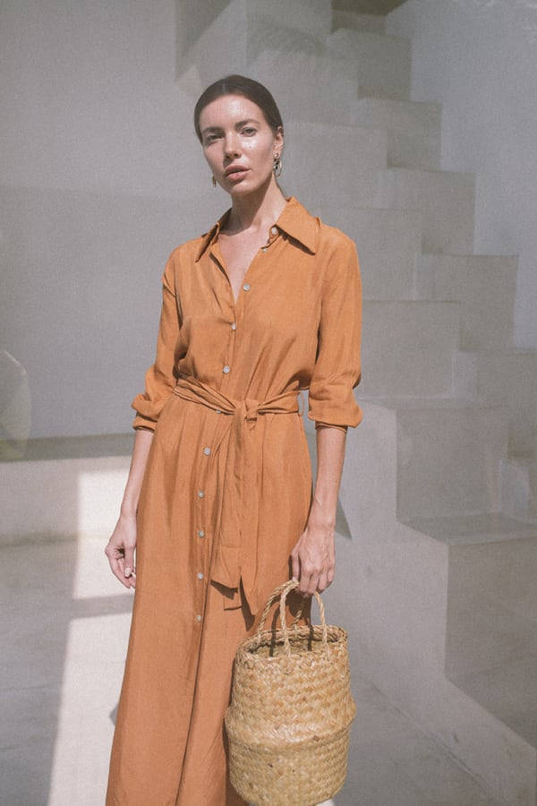 Iconic Apricot Shirt Dress - Apricot - Front