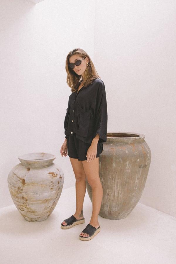Cashmere-Like Flowy Shorts