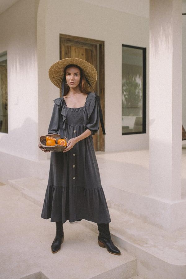 Boho Peasant Midi Dress - Plus