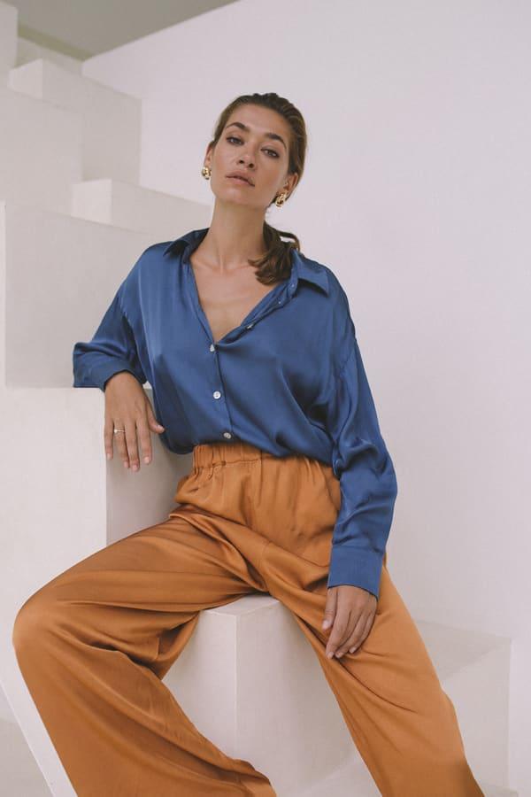 Satin Flowy Shirt - Sapphire - Front