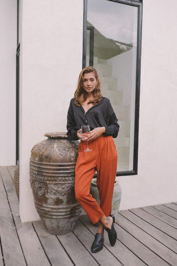 Cropped Classic Pants - Burnt Orange - Front