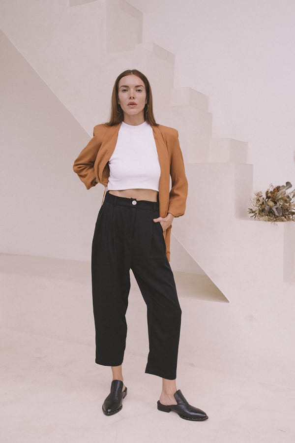 Cropped Classic Pants  - Plus - Black - Front