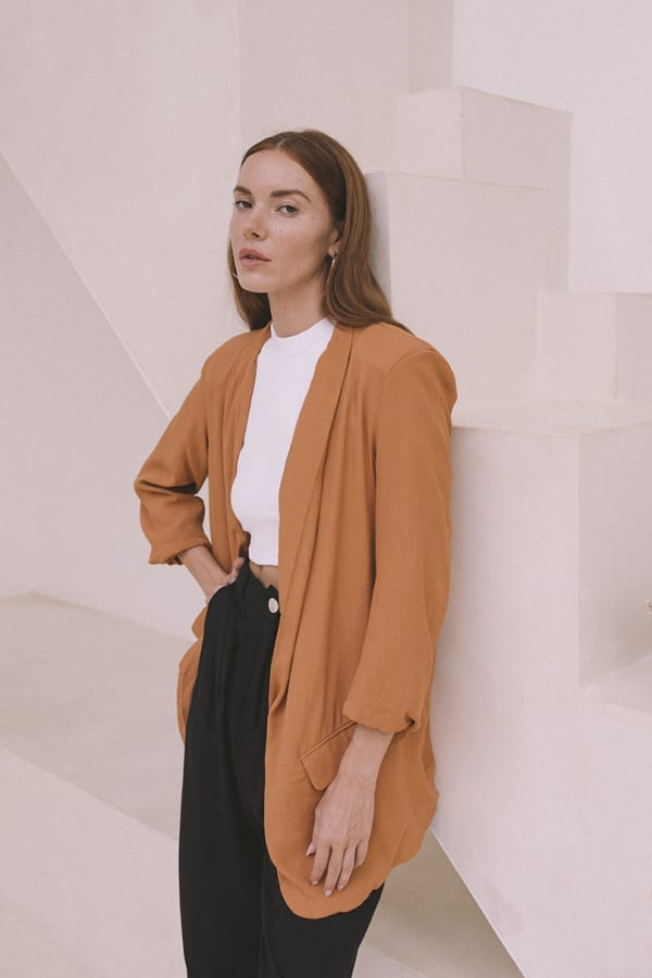 Oversized Blazer - Plus -Burnt Orange - Front