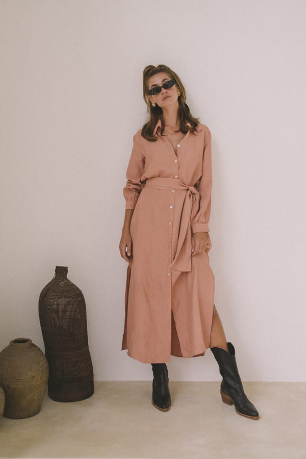 Chic Shirt Dress - Peach - Front