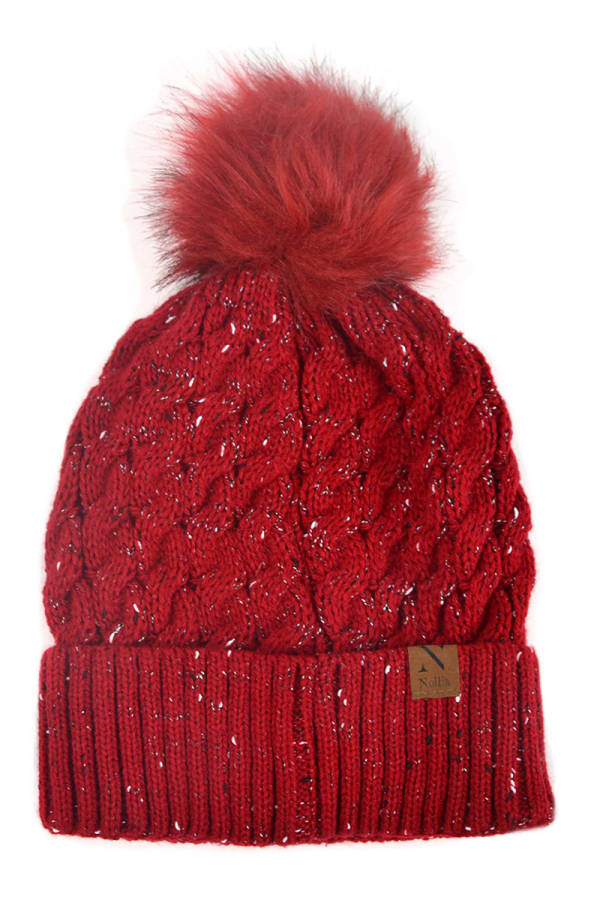 Novelty Stitch Knit Winter Hat -Red - Front
