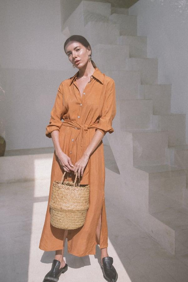 Iconic Apricot Shirt Dress