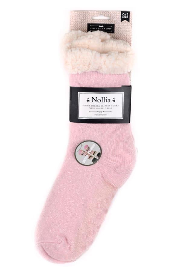 Sherpa Lined Slipper Socks - Pink - Front