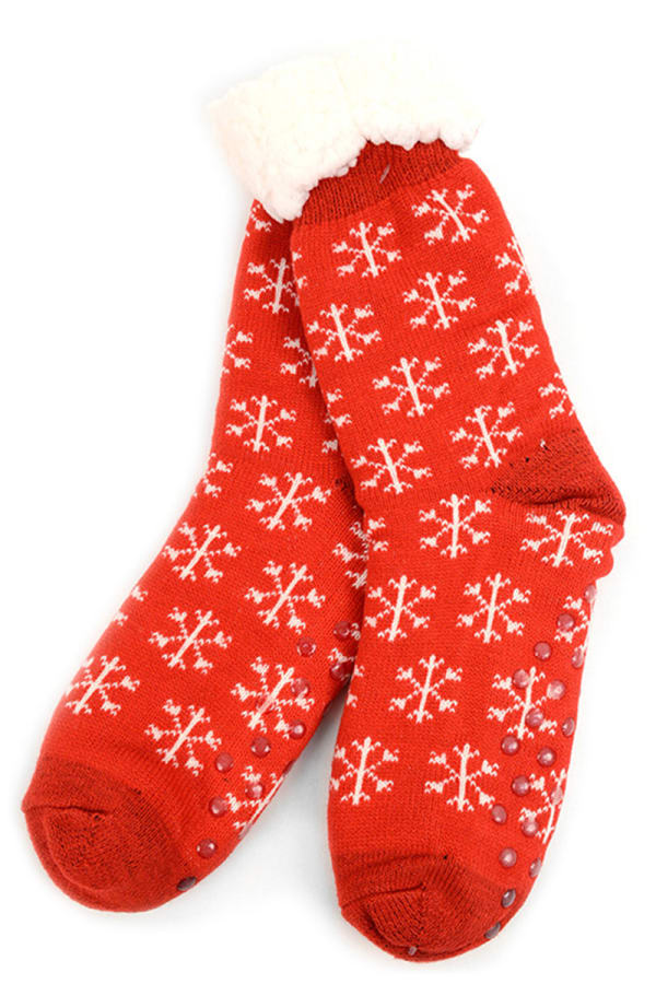 Mini Snowflakes Sherpa Lined Slipper Socks - Red - Front