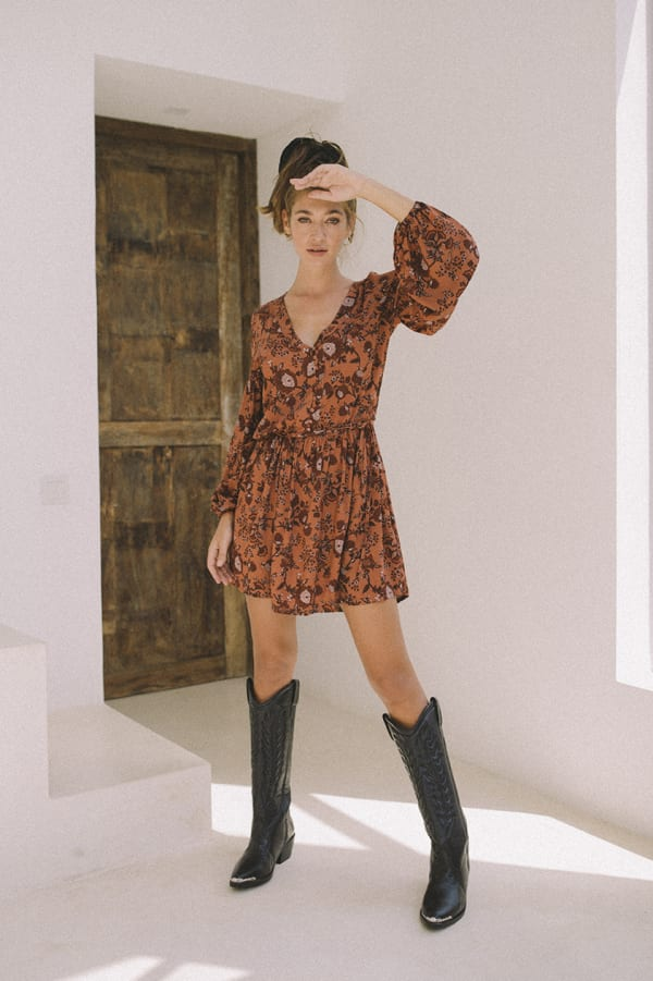 Long Sleeve Boho Mini Dress - Plus - Rust - Front