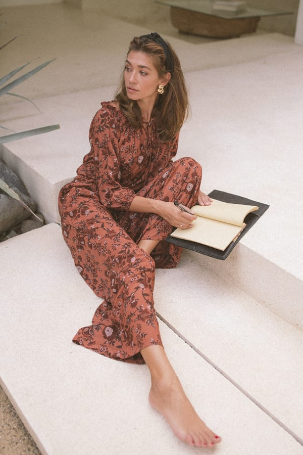 Fall Floral Wide-Leg Pants - Rust - Front